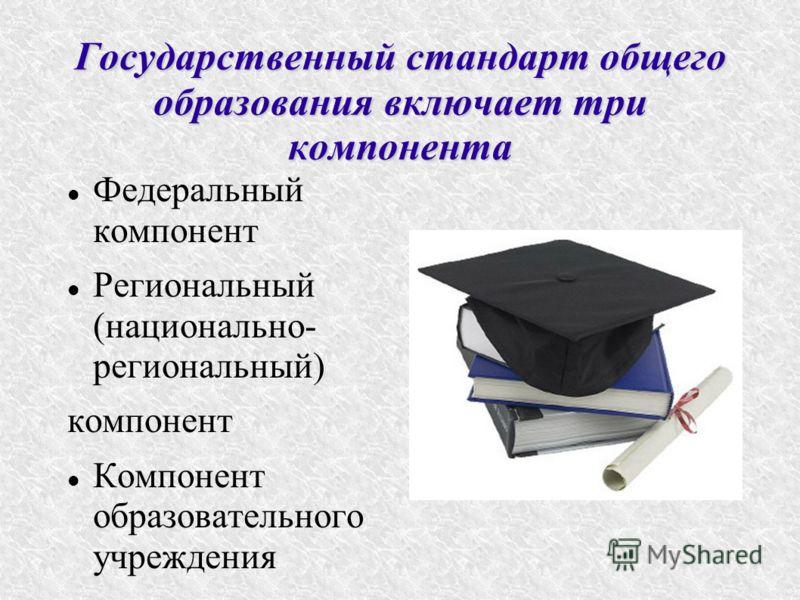 Государственный стандарт общего образования включает три компонента Федеральный компонент Региональный (национально- региональный) компонент Компонент образовательного учреждения