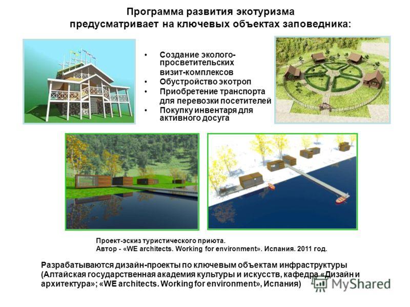 Программа развития экотуризма предусматривает на ключевых объектах заповедника: Создание эколого- просветительских визит-комплексов Обустройство экотроп Приобретение транспорта для перевозки посетителей Покупку инвентаря для активного досуга Разрабат