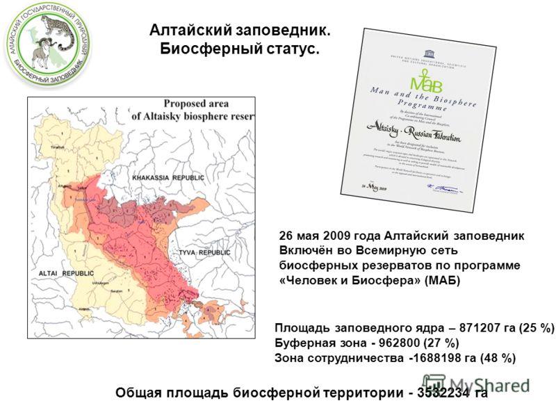 26 мая 2009 года Алтайский заповедник Включён во Всемирную сеть биосферных резерватов по программе «Человек и Биосфера» (МАБ) Площадь заповедного ядра – 871207 га (25 %) Буферная зона - 962800 (27 %) Зона сотрудничества -1688198 га (48 %) Общая площа