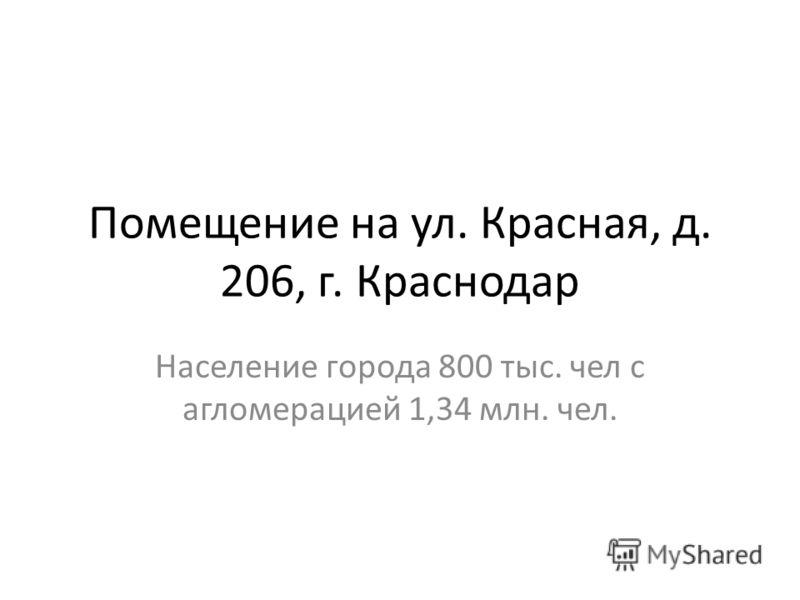 Помещение на ул. Красная, д. 206, г. Краснодар Население города 800 тыс. чел с агломерацией 1,34 млн. чел.