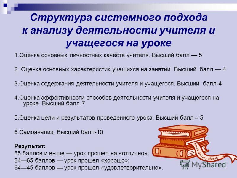 оценка деятельности учителя: