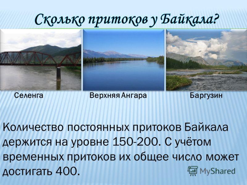 СеленгаВерхняя АнгараБаргузин Количество постоянных притоков Байкала держится на уровне 150-200. С учётом временных притоков их общее число может достигать 400.