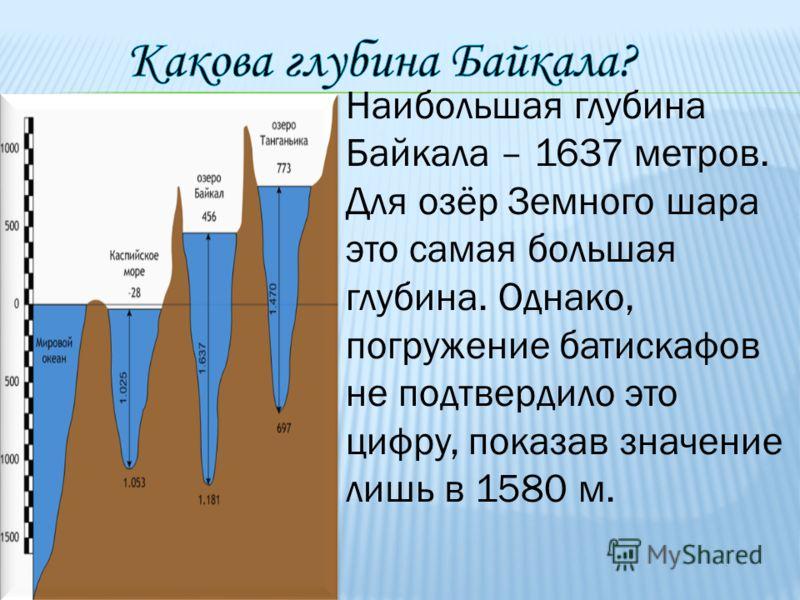 Наибольшая глубина Байкала – 1637 метров. Для озёр Земного шара это самая большая глубина. Однако, погружение батискафов не подтвердило это цифру, показав значение лишь в 1580 м.
