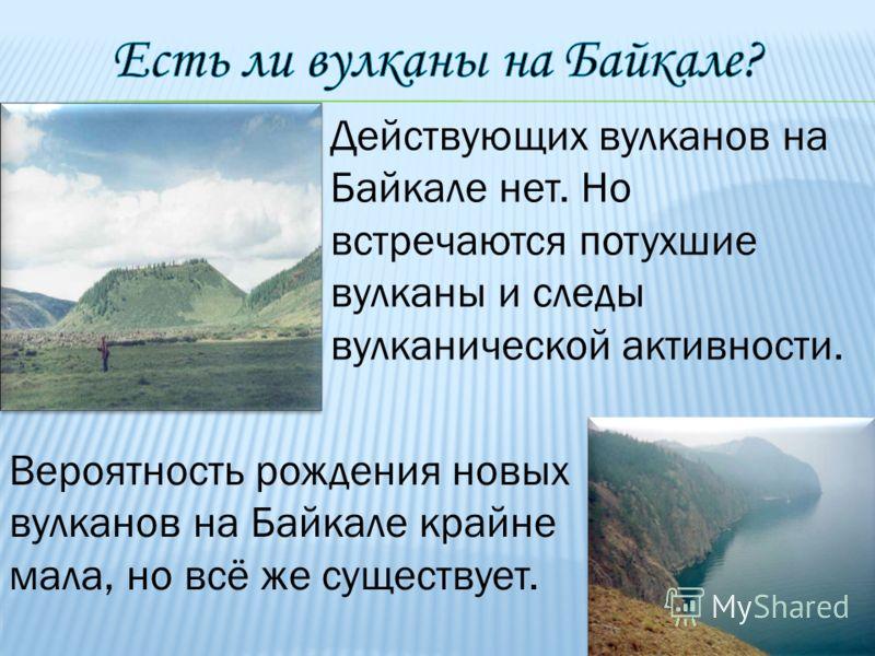 Действующих вулканов на Байкале нет. Но встречаются потухшие вулканы и следы вулканической активности. Вероятность рождения новых вулканов на Байкале крайне мала, но всё же существует.