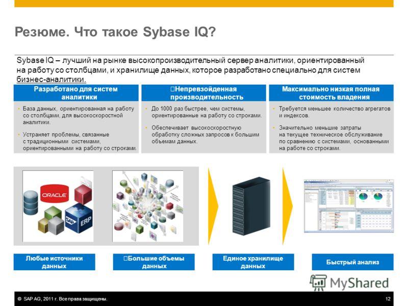 ©SAP AG, 2011 г. Все права защищены.12 Резюме. Что такое Sybase IQ? Sybase IQ – лучший на рынке высокопроизводительный сервер аналитики, ориентированный на работу со столбцами, и хранилище данных, которое разработано специально для систем бизнес-анал