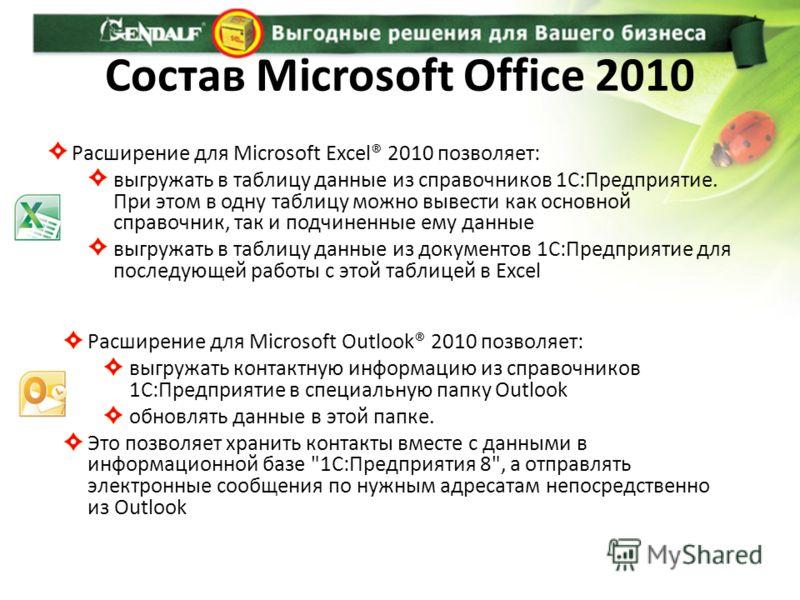 Состав Microsoft Office 2010 Расширение для Microsoft Excel® 2010 позволяет: выгружать в таблицу данные из справочников 1С:Предприятие. При этом в одну таблицу можно вывести как основной справочник, так и подчиненные ему данные выгружать в таблицу да