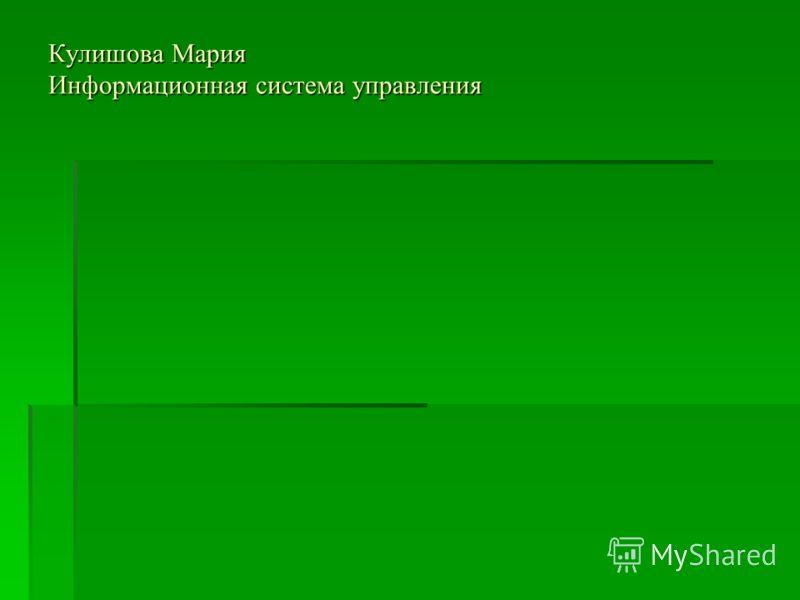 Кулишова Мария Информационная система управления