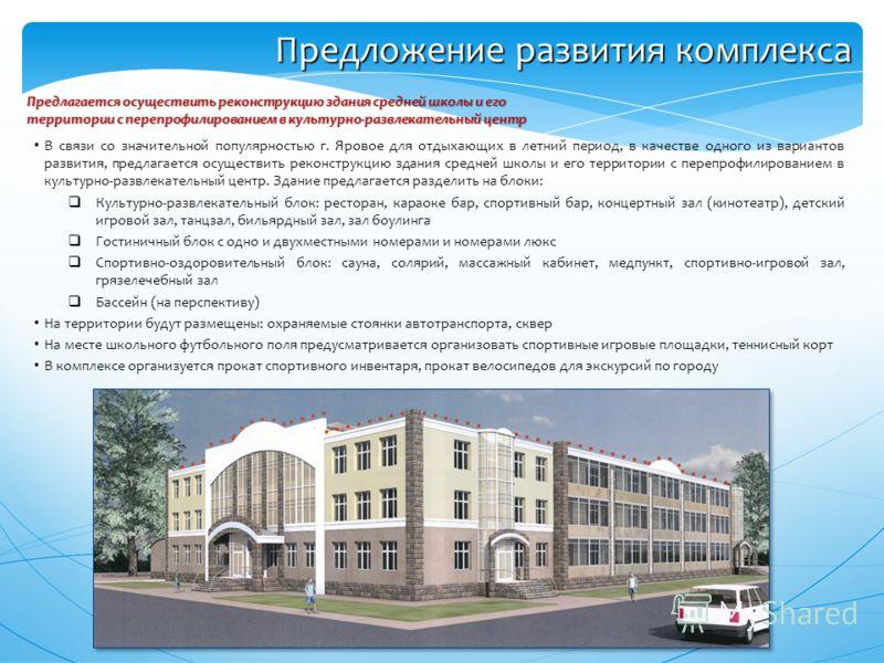 Предложение развития комплекса В связи со значительной популярностью г. Яровое для отдыхающих в летний период, в качестве одного из вариантов развития, предлагается осуществить реконструкцию здания средней школы и его территории с перепрофилированием