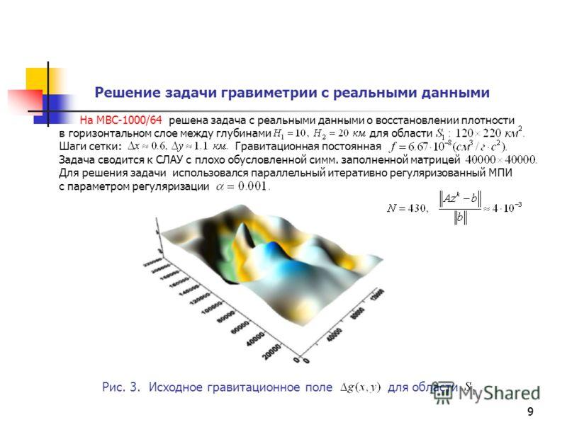 99 На МВС-1000/64 решена задача с реальными данными о восстановлении плотности в горизонтальном слое между глубинами для области Шаги сетки: Гравитационная постоянная Задача сводится к СЛАУ с плохо обусловленной симм. заполненной матрицей Для решения