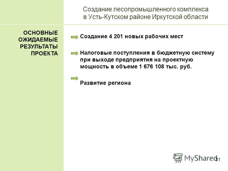 31 Создание лесопромышленного комплекса в Усть-Кутском районе Иркутской области Создание 4 201 новых рабочих мест Налоговые поступления в бюджетную систему при выходе предприятия на проектную мощность в объеме 1 676 108 тыс. руб. Развитие региона ОСН