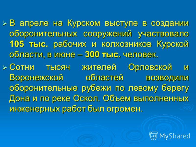 В апреле на Курском выступе в создании оборонительных сооружений участвовало 105 тыс. рабочих и колхозников Курской области, в июне – 300 тыс. человек. В апреле на Курском выступе в создании оборонительных сооружений участвовало 105 тыс. рабочих и ко