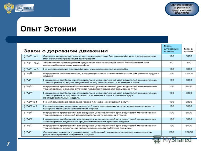 Система контроля за режимами труда и отдыха водителей 7 Опыт Эстонии
