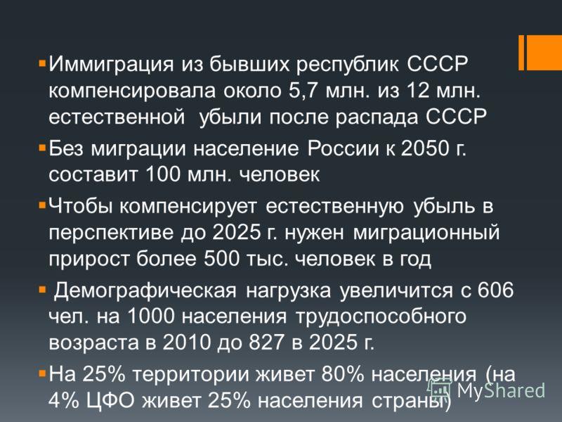 Иммиграция из бывших республик СССР компенсировала около 5,7 млн. из 12 млн. естественной убыли после распада СССР Без миграции население России к 2050 г. составит 100 млн. человек Чтобы компенсирует естественную убыль в перспективе до 2025 г. нужен