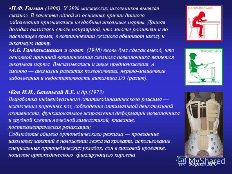 Н.Ф. Гагман (1896). У 29% московских школьников выявлял сколиоз. В качестве одной из основных причин данного заболевания признавались неудобные школьные парты. Данная догадка оказалась столь популярной, что многие родители и по настоящее время, в воз