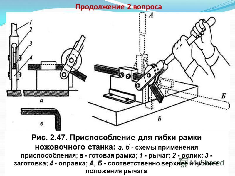 Продолжение 2 вопроса Рис. 2.45. Плоскогубцы Рис. 2.46. Круглогубцы Плоскогубцы и круглогубцы применяют при гибке профильного проката толщиной менее 0,5 мм и проволоки.
