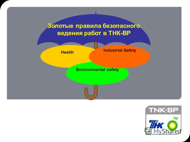 1 Золотые правила безопасного ведения работ в ТНК-ВР Health Environmental safety Industrial Safety