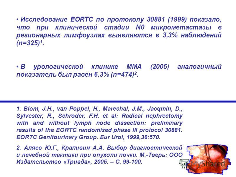 Исследование EORTC по протоколу 30881 (1999) показало, что при клинической стадии N0 микрометастазы в регионарных лимфоузлах выявляются в 3,3% наблюдений (n=325) 1. В урологической клинике ММА (2005) аналогичный показатель был равен 6,3% (n=474) 2. 1