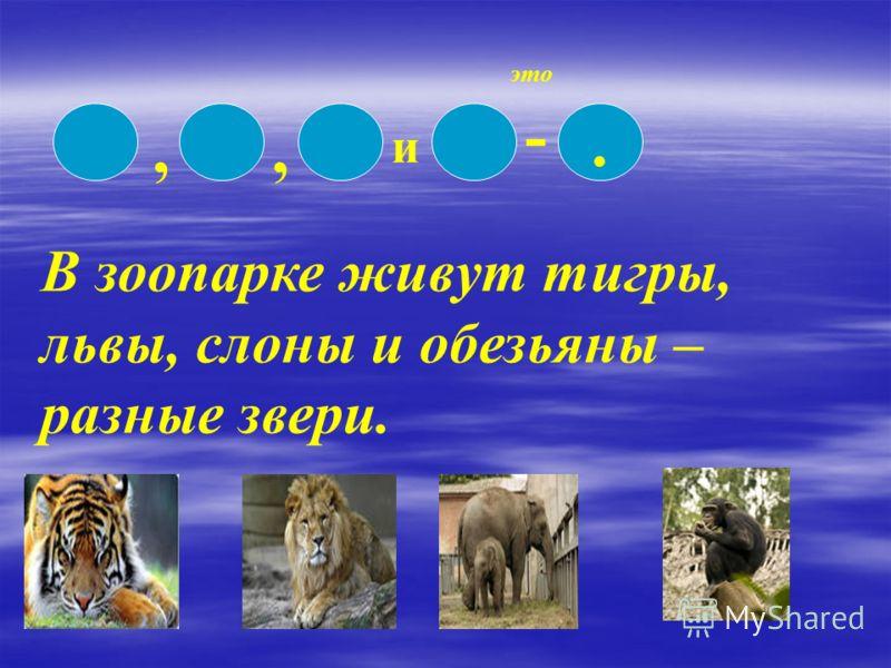 ,, и -. это В зоопарке живут тигры, львы, слоны и обезьяны – разные звери.