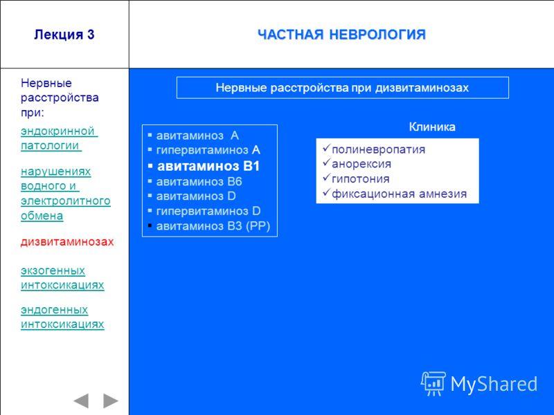 Лекция 3 авитаминоз А гипервитаминоз А авитаминоз В1 авитаминоз В6 авитаминоз D гипервитаминоз D авитаминоз В3 (РР) Нервные расстройства при: полиневропатия анорексия гипотония фиксационная амнезия Нервные расстройства при дизвитаминозах Клиника эндо