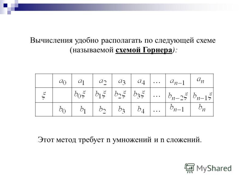 Вычисления удобно располагать по следующей схеме (называемой схемой Горнера): … … … Этот метод требует n умножений и n сложений.