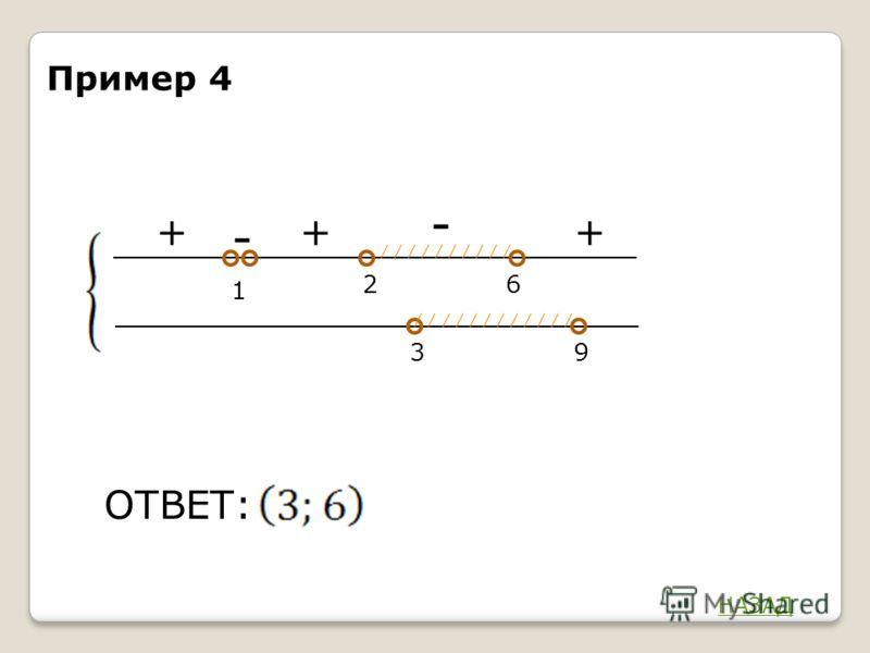 - + 6 2 ОТВЕТ: 1 39 + - + Пример 4 НАЗАД