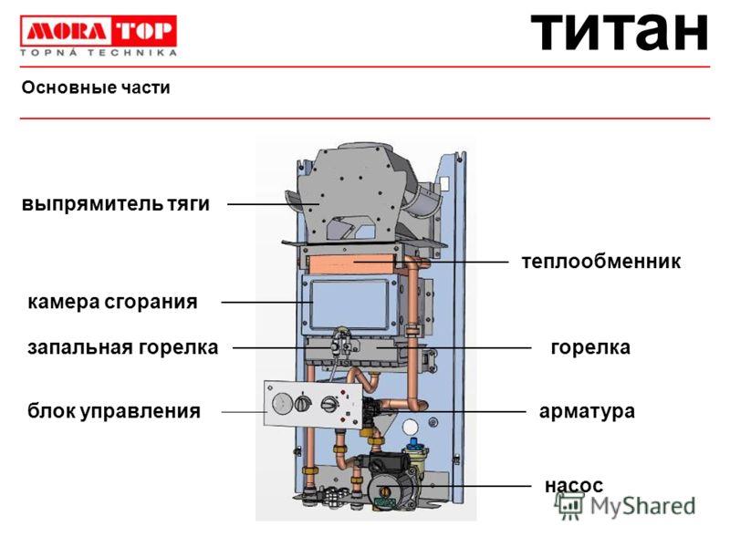 титан Основные части насос арматура горелказапальная горелка выпрямитель тяги теплообменник камера сгорания блок управления