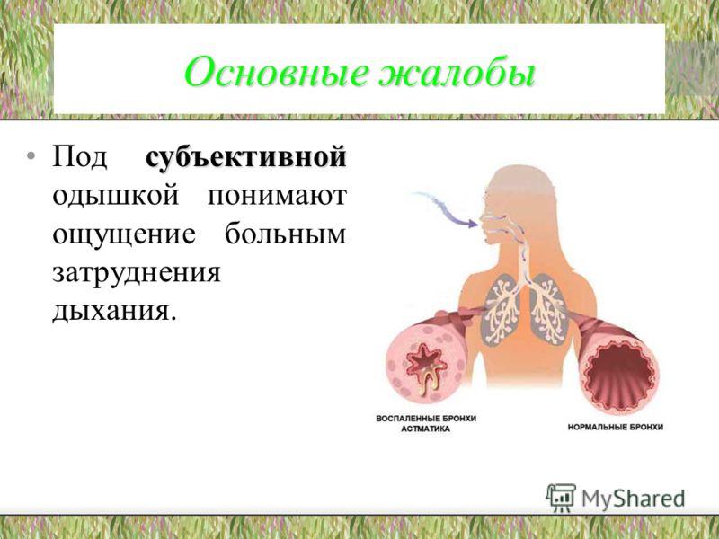 Основные жалобы субъективнойПод субъективной одышкой понимают ощущение больным затруднения дыхания.