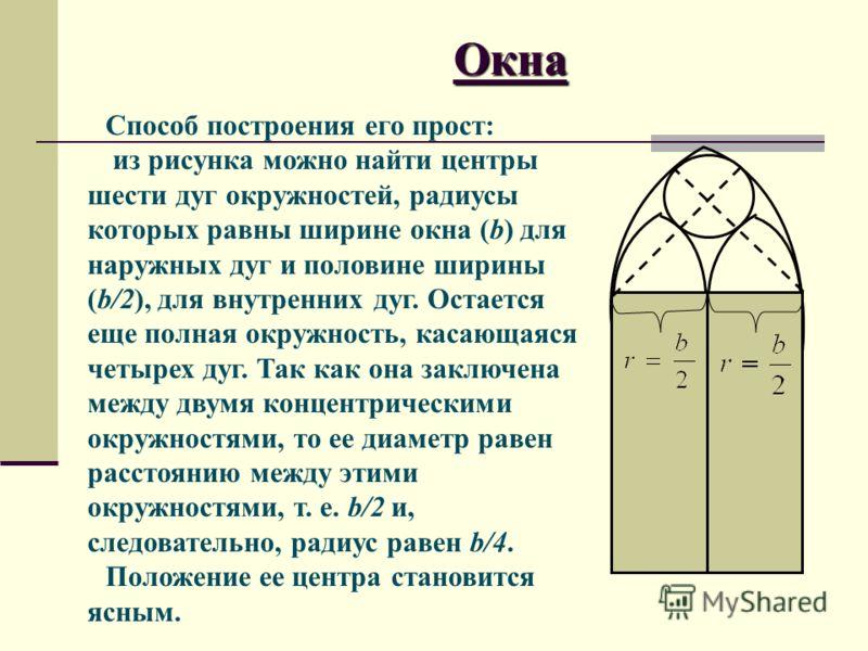 Окна Способ построения его прост: из рисунка можно найти центры шести дуг окружностей, радиусы которых равны ширине окна (b) для наружных дуг и половине ширины (b/2), для внутренних дуг. Остается еще полная окружность, касающаяся четырех дуг. Так как