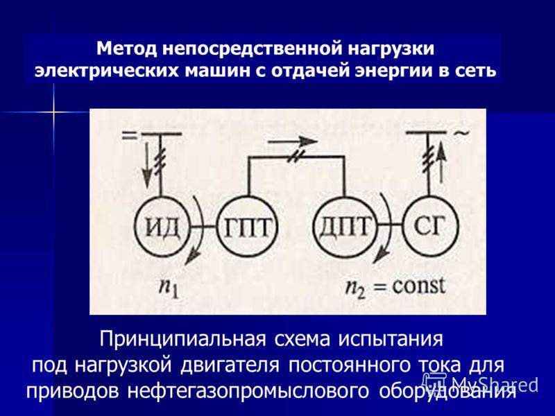 Метод непосредственной нагрузки электрических машин с отдачей энергии в сеть Принципиальная схема испытания под нагрузкой двигателя постоянного тока для приводов нефтегазопромыслового оборудования