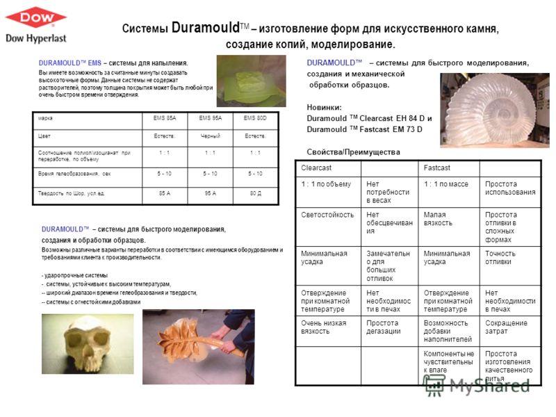 Системы Duramould ТМ – изготовление форм для искусственного камня, создание копий, моделирование. DURAMOULD – системы для быстрого моделирования, создания и механической обработки образцов. Новинки: Duramould TM Clearcast EH 84 D и Duramould TM Fastc