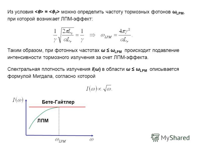 Из условия = можно определить частоту тормозных фотонов ω LPM, при которой возникает ЛПМ-эффект: Таким образом, при фотонных частотах ω ω LPM происходит подавление интенсивности тормозного излучения за счет ЛПМ-эффекта. Спектральная плотность излучен