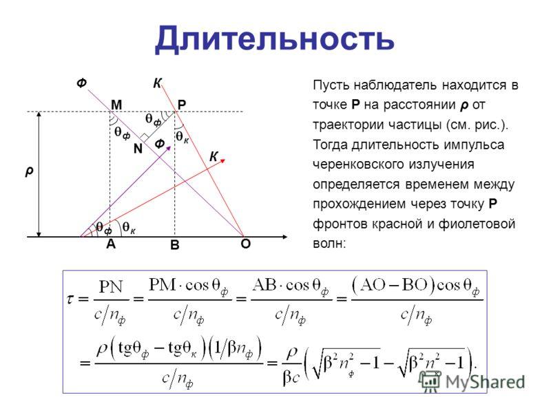 Длительность ρ ФК Ф К PM N OA B к к ф ф ф Пусть наблюдатель находится в точке P на расстоянии ρ от траектории частицы (см. рис.). Тогда длительность импульса черенковского излучения определяется временем между прохождением через точку P фронтов красн