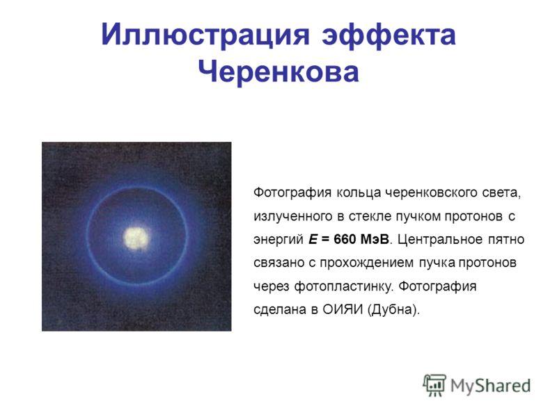 Иллюстрация эффекта Черенкова Фотография кольца черенковского света, излученного в стекле пучком протонов с энергий E = 660 МэВ. Центральное пятно связано с прохождением пучка протонов через фотопластинку. Фотография сделана в ОИЯИ (Дубна).