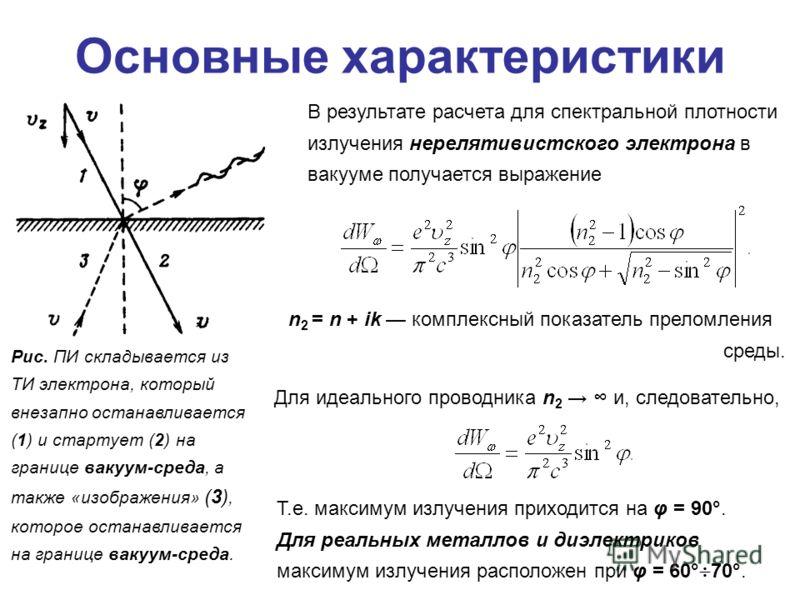 Основные характеристики В результате расчета для спектральной плотности излучения нерелятивистского электрона в вакууме получается выражение n 2 = n + ik комплексный показатель преломления среды. Для идеального проводника n 2 и, следовательно, Рис. П
