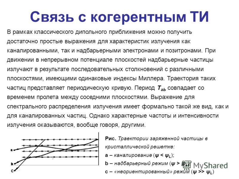 с Связь с когерентным ТИ В рамках классического дипольного приближения можно получить достаточно простые выражения для характеристик излучения как каналированными, так и надбарьерными электронами и позитронами. При движении в непрерывном потенциале п