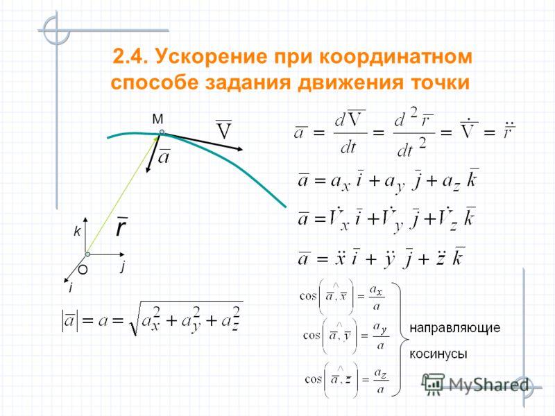 2.4. Ускорение при координатном способе задания движения точки М O i j k r