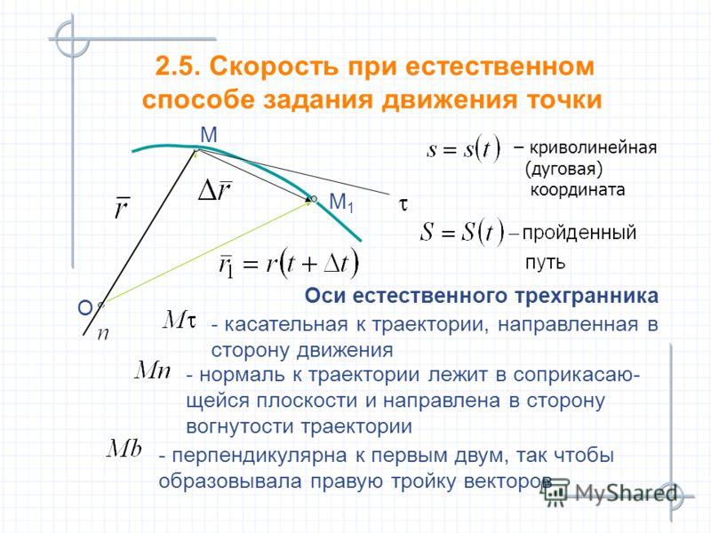 2.5. Скорость при естественном способе задания движения точки М М М1М1 М1М1 O O Оси естественного трехгранника Оси естественного трехгранника - касательная к траектории, направленная в сторону движения - касательная к траектории, направленная в сторо