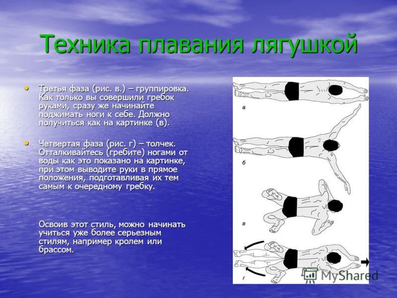 Техника плавания лягушкой Третья фаза (рис. в.) – группировка. Как только вы совершили гребок руками, сразу же начинайте поджимать ноги к себе. Должно получиться как на картинке (в). Третья фаза (рис. в.) – группировка. Как только вы совершили гребок