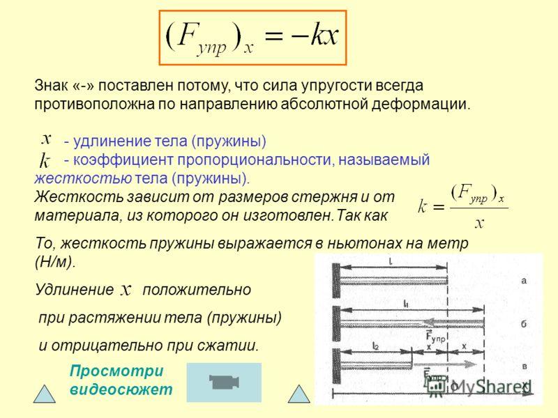 Знак «-» поставлен потому, что сила упругости всегда противоположна по направлению абсолютной деформации. - удлинение тела (пружины) - коэффициент пропорциональности, называемый жесткостью тела (пружины). Жесткость зависит от размеров стержня и от ма