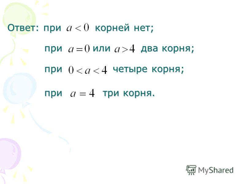 Ответ: при корней нет; при или два корня; при четыре корня; при три корня.