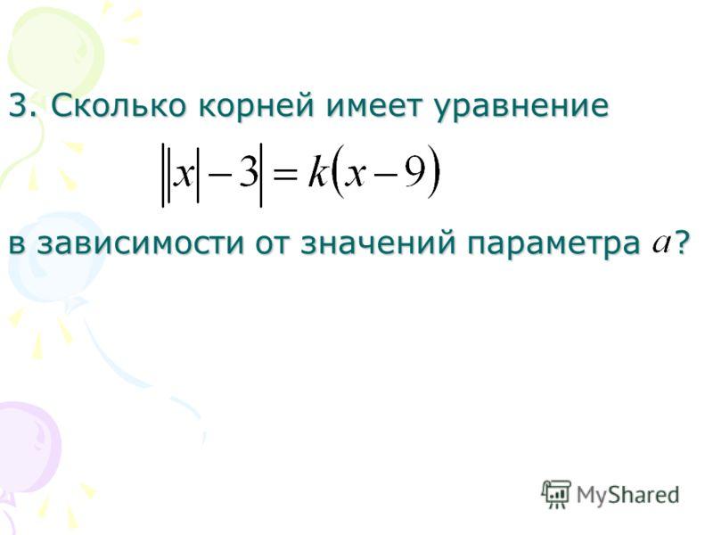 3. Сколько корней имеет уравнение в зависимости от значений параметра ?