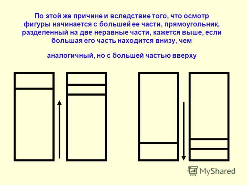 По этой же причине и вследствие того, что осмотр фигуры начинается с большей ее части, прямоугольник, разделенный на две неравные части, кажется выше, если большая его часть находится внизу, чем аналогичный, но с большей частью вверху