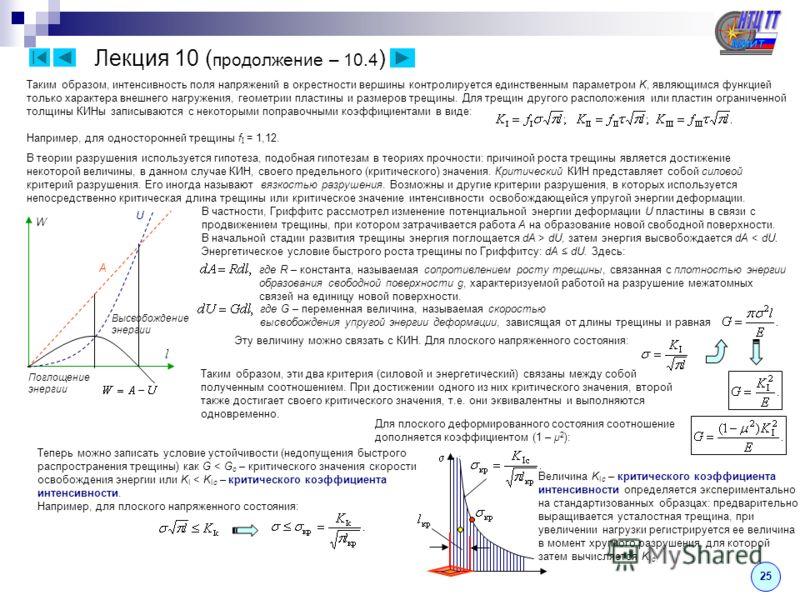 Лекция 10 ( продолжение – 10.4 ) 25 Таким образом, интенсивность поля напряжений в окрестности вершины контролируется единственным параметром K, являющимся функцией только характера внешнего нагружения, геометрии пластины и размеров трещины. Для трещ