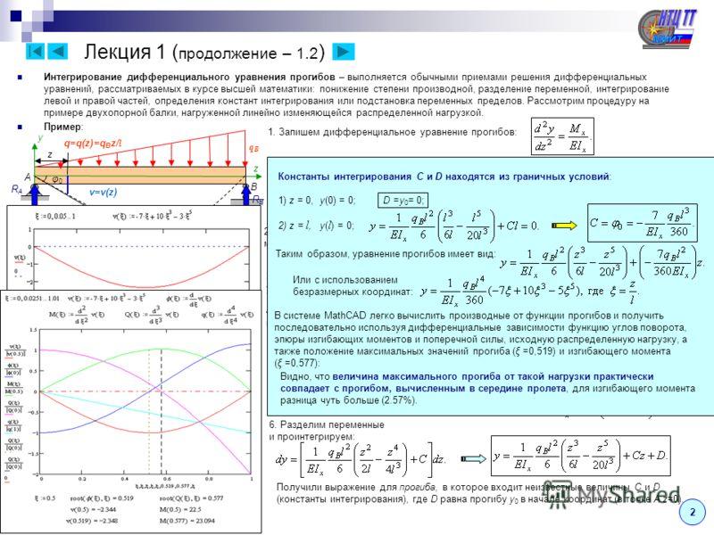 Лекция 1 ( продолжение – 1.2 ) 2 Интегрирование дифференциального уравнения прогибов – выполняется обычными приемами решения дифференциальных уравнений, рассматриваемых в курсе высшей математики: понижение степени производной, разделение переменной,