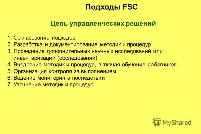 Подходы FSC Цепь управленческих решений 1.Согласование подходов 2.Разработка и документирование методик и процедур 3.Проведение дополнительных научных исследований или инвентаризаций (обследований) 4.Внедрение методик и процедур, включая обучение раб