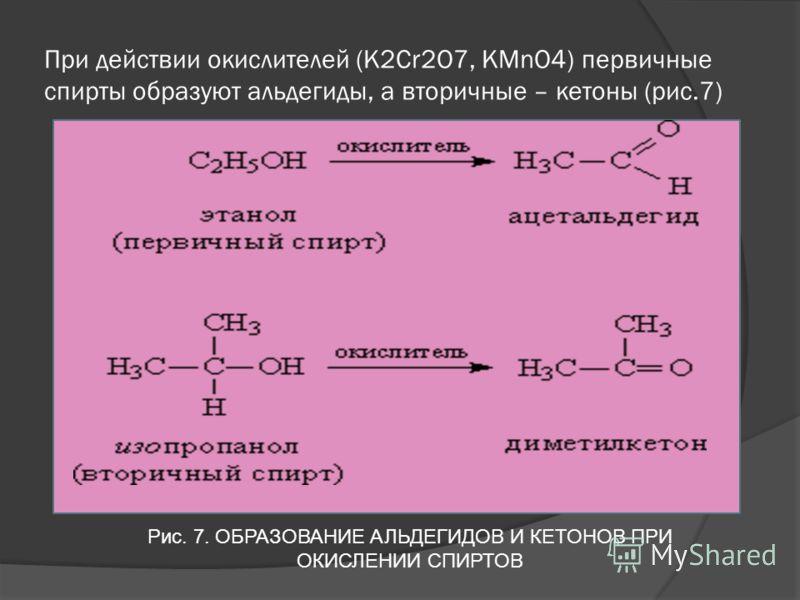 При действии окислителей (К2Cr2O7, KMnO4) первичные спирты образуют альдегиды, а вторичные – кетоны (рис.7) Рис. 7. ОБРАЗОВАНИЕ АЛЬДЕГИДОВ И КЕТОНОВ ПРИ ОКИСЛЕНИИ СПИРТОВ