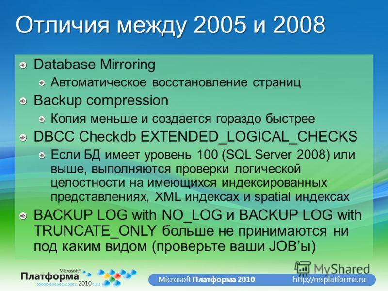 http://msplatforma.ruMicrosoft Платформа 2010 Отличия между 2005 и 2008 Database Mirroring Автоматическое восстановление страниц Backup compression Копия меньше и создается гораздо быстрее DBCC Checkdb EXTENDED_LOGICAL_CHECKS Если БД имеет уровень 10