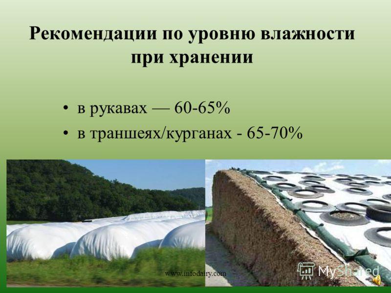 Рекомендации по уровню влажности при хранении в рукавах 60-65% в траншеях/курганах - 65-70% www.infodairy.com