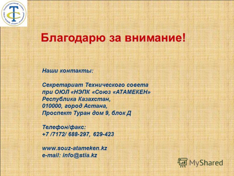 Благодарю за внимание! Наши контакты: Секретариат Технического совета при ОЮЛ «НЭПК «Союз «АТАМЕКЕН» Республика Казахстан, 010000, город Астана, Проспект Туран дом 9, блок Д Телефон/факс: +7 /7172/ 688-297, 629-423 www.souz-atameken.kz e-mail: info@s