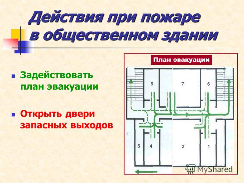 Задействовать план эвакуации Открыть двери запасных выходов План эвакуации